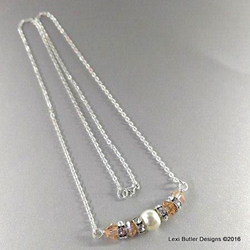 Peaches & Cream Crystal and Pearl Bar Necklace from Lexi Butler Designs