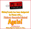 MickeyTravels, LLC earns PLATINUM Earmarked Status from Disney Destinations for 2016
