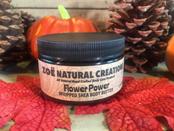"Organic Unrefined Shea Butter and Coconut Oil Whipped Body Butter in ""Flower Power,"" from Zoe Natural Creations."