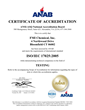 FMi Chemical's ANAB certificate of accreditation under ISO/IEC 17025:2005