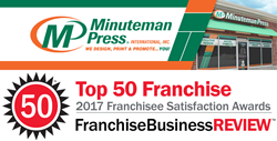 Franchise Business Review has awarded Minuteman Press International a spot on its 2017 Top Franchises list thanks to positive feedback from Minuteman Press franchise owners.