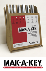 Image of MAK-A-KEY packaging containing assorted steel precision key stock