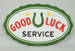 Good Luck Service Horse Shoe Logo Porcelain Diecut Sign, Estimated at $5,000-7,500