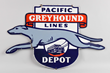 Greyhound Pacific Lines Depot Diecut Porcelain Sign, Estimated at $15,000-25,000