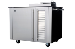 The freestanding cart version of the Kalamazoo Smoker Cabinet rests on heavy-duty casters, allowing users to roll it in and out of an outdoor kitchen for a more flexible space.