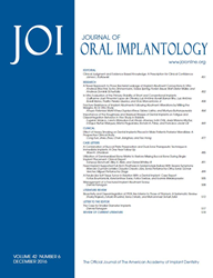 Journal of Oral Implantology Volume 43, Issue 5