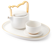 Zazen Bear white ceramic tea set with gold leaf trim