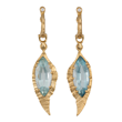 Feather earrings 1 by Audrius Krulis. 18k yellow gold, aquamarine and white diamonds