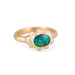 Sparks ring 3 by Audrius Krulis. 18K yellow gold, opal and white diamonds
