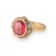 Sparks ring 5 by Audrius Krulis. 18K yellow gold, pink tourmaline and white diamonds