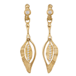 Feather earrings 2 by Audrius Krulis. 18K yellow gold and white diamonds