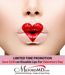 Save $244 on kissable lips for Valentine's Day at MilfordMD.com