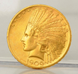 1909 $10 Gold Indian Coin, Estimated at $700-800.