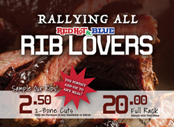 $20.00 Full Rack of Ribs Served with Two Sides at Red Hot & Blue BBQ Restaurants