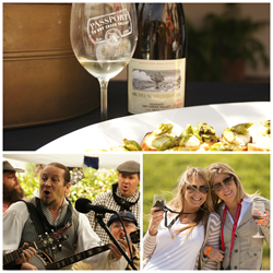 Passport to Dry Creek Valley logo, dancers, food, cork, tickets, celebration winetasting, food and wine, gourmet