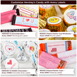 Hershey Chocolates with personalized Avery labels for Valentine's Day.
