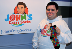 John with Autism Awareness Socks