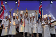 The 2017 Bocuse d'Or winners: Team USA with gold, Norway with Silver and Iceland with Bronze (c) SIRHA