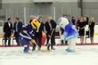 "Florida Hospital Center Ice Mascot, IC and Tampa Bay Lightning Mascot, ThunderBug face-off at the ""Puck Dropping"" Event"