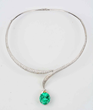 Diamond Necklace With Emerald and Diamond Pendant, Estimated at $60,000-100,000.