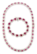 Diamond and Ruby Necklace and Bracelet Set, Estimated at $16,000-20,000.