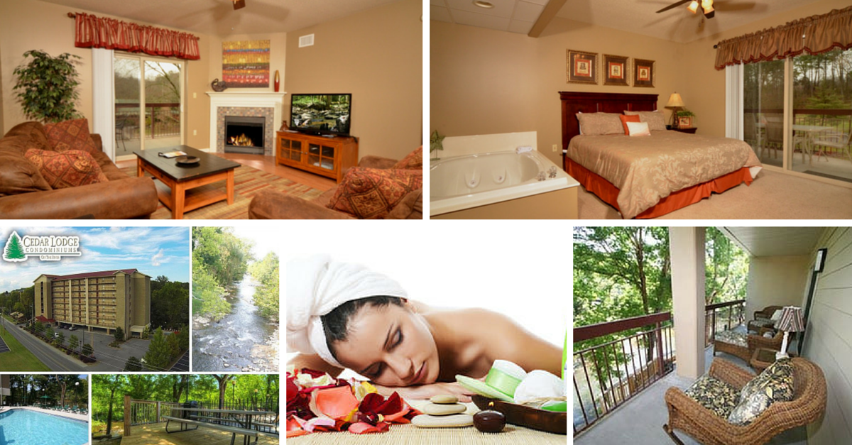 Cedar Lodge Riverside Condos in Pigeon Forge with Private Balconies2 & 3  Bedroom Downtown Condos with Free Attraction Tickets