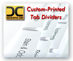 Order printed tab dividers for books and binders online at DocuCopies.com.