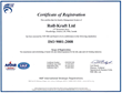 Roll-Kraft Ltd. Re-Certified By ISO
