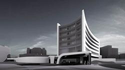 Curved architectural precast facade