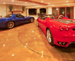Motorized retractable screens on a car show room