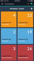 Pending Tasks Dashboard as seen on Ekam IPhone App