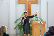 Lashonda Springfield, owner of Anointed Treats and Gifts, shares how Area Relief Ministries helped her during a lunch and reception held Monday, Jan. 24, 2017 at St. Luke's Episcopal Church.