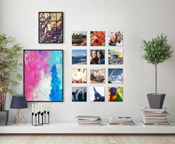 PhotoSquared Wall Collage with framed art