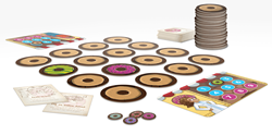 How a setup game of Dozen's Donuts looks.