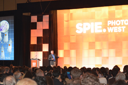 SPIE Photonics West launched the industry's year; above, Christopher Contag gives a talk on in vivo imaging, during the BiOS Hot Topics session.