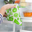 "LunchSkins reusable eco friendly food storage bags are all new in for 2017 (pictured: LunchSkins Zip Gallon Bag in ""Green Fruit"")."