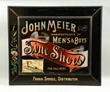 John Meier Fine Shoes Glass Sign, Estimated at $2,000-4,000.