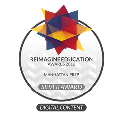 Reimagine Education 2016 Digital Content Silver Award badge presented to Manhattan Prep for Interact