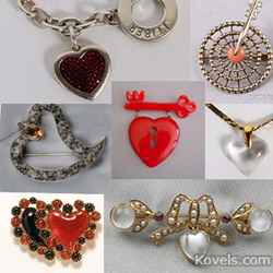kovels, antiques, collectibles, heart jewelry