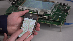 a software engineer at Kongsberg Geospatial tests a TerraLens application that has been ported to Android using Xamarin