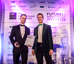 Jordan Brophy, Mettler Toledo Safeline; Toby Peyton-Jones, Siemens; EEF Future Manufacturing Awards 2016