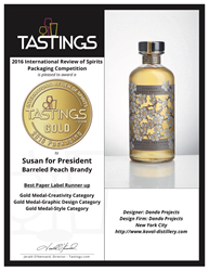 """Susan for President"" Barreled Peach Brandy Label designed by Dando Projects"