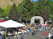 A look at the Taste of the Tetons, a popular event of the Jackson Hole Fall Arts Festival, from above, shows one of the Jackson, Wyoming, Town Square's famous elk antler archways.