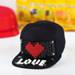 brick building heart design on baseball hat