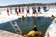 Participants during Ellen's Icebreaker plunge into Nagawicka Lake.