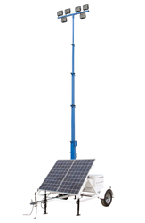 Solar Powered LED Light Tower Equipped with Six 50 Watt Lamps