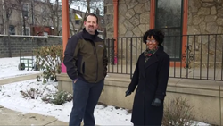 ISA Certified Arborist Mike Chenail with Sandy Clark of Horizon House in front of their Germantown, Pennsylvania residential location where Giroud performed charitable tree work.