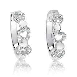Heart Diamond Hoops in Sterling Silver