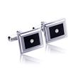 Men's Stainless Steel Diamond Cufflinks