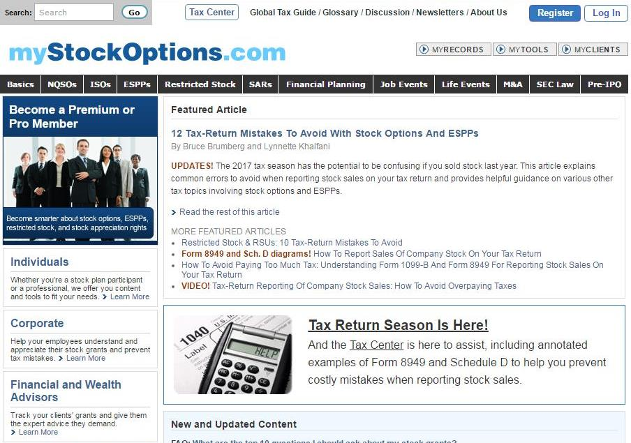 Mystockoptions Expands Tax Return Guidance To Help The Millions
